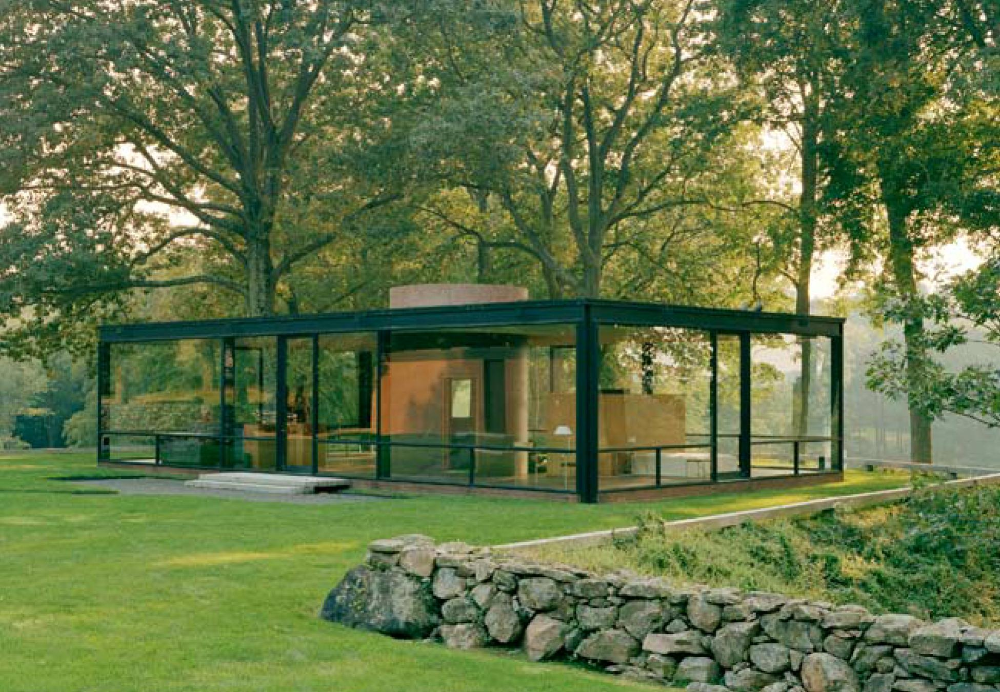 Johnson y la glass house new canaam 1949 hyperbole for Stone and glass house designs
